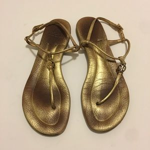 TORY BURCH EMMY Gold Leather Thong Sandals Sz 9.5